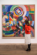 Electric Prisms, 1914 - Retrospective of Sonia Delaunay (1885–1979), a key figure in the Parisian avant-garde, renowned for her vivid and colourful paintings and textiles. The exhibition covers the breadth of her vibrant artistic career, from 1907 to 1970, showcasing her originality and creativity across the twentieth century. Highlights include: Three 7-metre murals, Motor, Dashboard and Propeller, created for the 1937 International Exposition in Paris and never before shown in the UK; A reconstructed shop window of Delaunay's 1920s Paris atelier, showcasing a motorised display of her multi-coloured textiles; Electric Prisms 1914, a large colourful painting capturing the energy of modern urban life, on loan from the Centre Pompidou in Paris; Costumes, dresses and scarves designed by Delaunay for clients including the Hollywood star Gloria Swanson, Diaghilev's Ballets Russes, and departments stories like Metz & Co and Liberty. The EY Exhibition: Sonia Delaunay is at Tate Modern from 15 April to 9 August 2015.