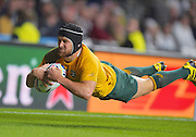 Matt Giteau dives over for the final try during the Rugby World Cup Pool A match between England and Australia at Twickenham, Richmond, United Kingdom on 3 October 2015. Photo by Ian Muir.during the Rugby World Cup Pool A match between England and Australia at Twickenham, Richmond, United Kingdom on 3 October 2015. Photo by Ian Muir.