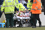 Gaetano Berardi (28) of Leeds United is taken off due to injury  during the Sky Bet Championship match between Hull City and Leeds United at the KC Stadium, Kingston upon Hull, England on 23 April 2016. Photo by Ian Lyall.