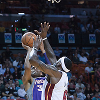 17 November 2010: Phoenix Suns' small forward #33 Grant Hill takes a jumps shot over Miami Heat's small forward #6 LeBron James during the Miami Heat 123-96 victory over the Phoenix Suns at the AmericanAirlines Arena, Miami, Florida, USA.