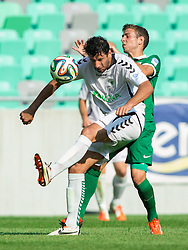 Mario Carevic of Krka vs Boban Jovic #5 of Olimpija during football match between NK Olimpija and NK Krka in Round 1 of Prva liga Telekom Slovenije 2014/15, on July 19, 2014 in SRC Stozice, Ljubljana, Slovenia. Photo by Vid Ponikvar / Sportida.com