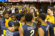 March 5, 2018 - Asheville, North Carolina - U.S. Cellular Center: ETSU forward James Harrison, ETSU guard Bo Hodges (3), ETSU center Peter Jurkin (5), ETSU guard Jalan McCloud (12), ETSU forward David Burrell (2), ETSU guard Desonta Bradford (1), ETSU center Karl Overstreet (34)<br /> <br /> Image Credit: Dakota Hamilton/ETSU