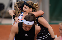 May 29, 2019 - Paris, FRANCE - Lucie Safarova of the Czech Republic gets a hug from Sofia Kenin after playing her final career doubles match at the 2019 Roland Garros Grand Slam tennis tournament (Credit Image: © AFP7 via ZUMA Wire)