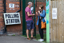 © Licensed to London News Pictures. 23/05/2019. London, UK. Voters arrive at a polling station in Haringey, north London to cast their votes in the European Parliament elections. Photo credit: Dinendra Haria/LNP