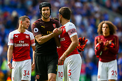 Petr Cech of Arsenal shakes hands with Sokratis Papastathopoulos of Arsenal after the final whistle of the match - Mandatory by-line: Ryan Hiscott/JMP - 02/09/2018 -  FOOTBALL - Cardiff City Stadium - Cardiff, Wales -  Cardiff City v Arsenal - Premier League