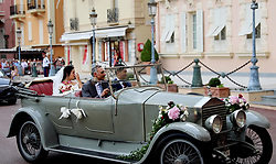 July 27, 2019, Monaco, Monaco: 27-07-2019 Monaco Screenshots of a video of the royal wedding of Louis Ducruet and Marie Hoa Chevallier in Monaco..Press and public not welcome at the wedding of the son of Princess Stephanie of Monaco, Louis Ducruet and Marie Chevallier, the monegasque police had deposited all the streets that lead to the cathedral with crush barriers and police officers. (Credit Image: © face to face via ZUMA Press)