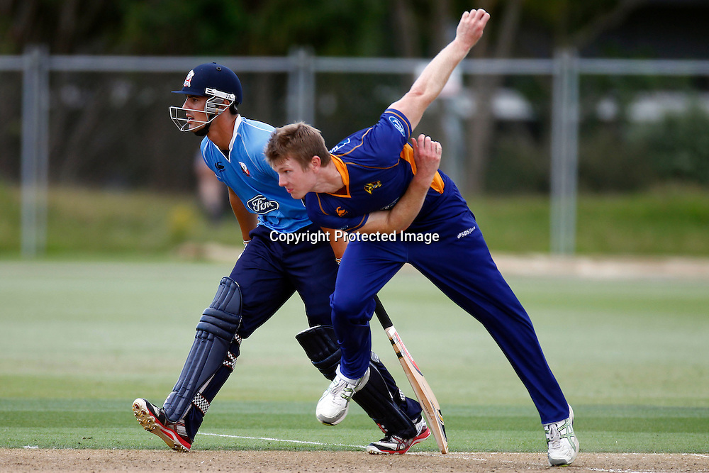 Aces Anaru Kitchen and Volts Jimmy Neesham during the Ford Trophy match between the Auckland Aces v Otago Volts. Preliminary Final, Men's domestic 1 day cricket. Colin Maiden Park, New Zealand. Wednesday 8 January 2012. Ella Brockelsby / photosport.co.nz