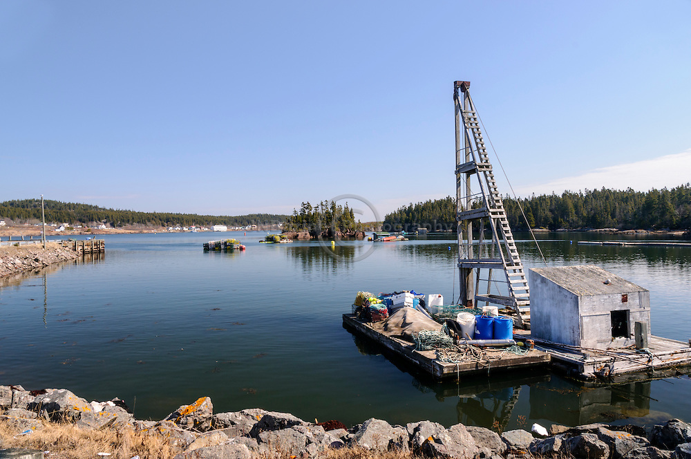 Fishing village, tackle and platform on the shore of Blacks Harbour New Brunswick, Canada