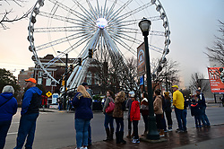 Participants and spectators view the Chick-fil-A Peach Bowl Parade before Michigan faces Florida in the Chick-fil-A Peach Bowl, December 29, 2018, in Atlanta. (David Tulis via Abell Images for Chick-fil-A Peach Bowl)