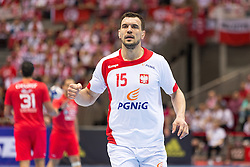 10.04.2016, Ergo Arena, Gdansk, POL, IHF Herren, Olympia Qualifikation, Polen vs Tunesien, im Bild Michal Jurecki // during the IHF men's Olympic Games handball qualifier between Poland and Tunisia at the Ergo Arena in Gdansk, Poland on 2016/04/10. EXPA Pictures © 2016, PhotoCredit: EXPA/ Newspix/ Tomasz Zasinski<br /> <br /> *****ATTENTION - for AUT, SLO, CRO, SRB, BIH, MAZ, TUR, SUI, SWE only*****