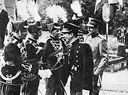 Prince Paul of Yugoslavia, Regent 1934-1941, right, and the young Peter II, king of Yugoslavia 1934-1945, inspecting a parade at an officers' festival, Belgrade 1940.