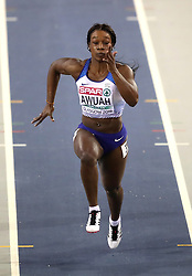 Great Britain's Kristal Awuah during the Women's 60m semi final during day two of the European Indoor Athletics Championships at the Emirates Arena, Glasgow.