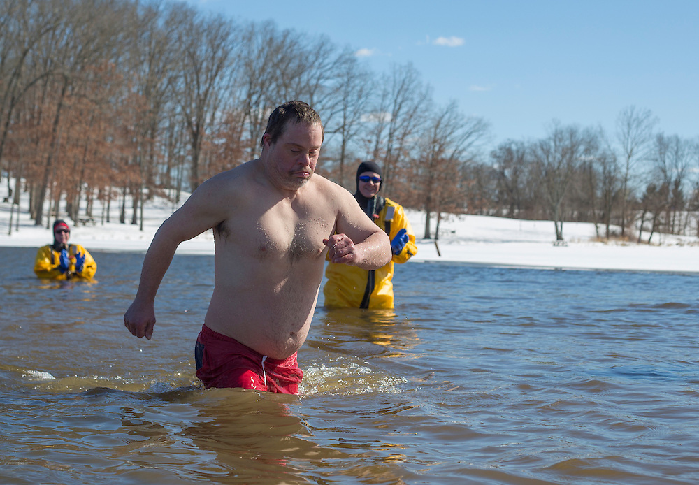 Marc Snyder, an Athens resident and Special Olympic athlete, participates in the Polar Plunge on February 13, 2016. Photo by Emily Matthews