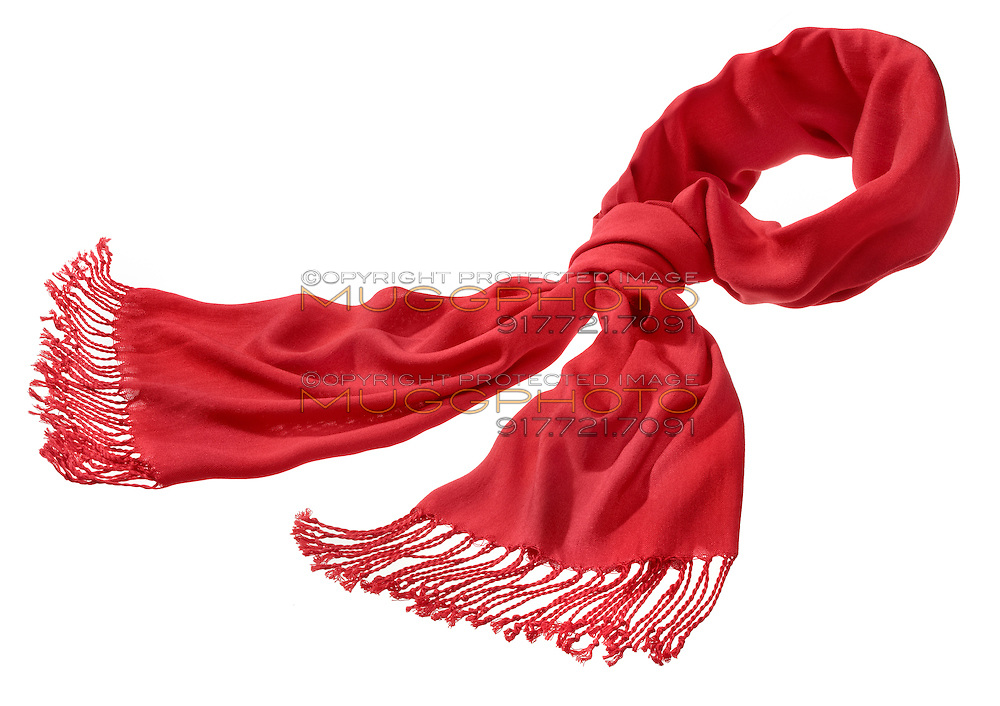 red scarf with fringe