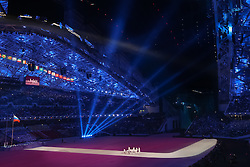 The XXII Winter Olympic Games 2014 in Sotchi, Olympics, Olympische Winterspiele Sotschi 2014<br /> Opening ceremony, <br /> Olympic Flag is carried into the stadium,