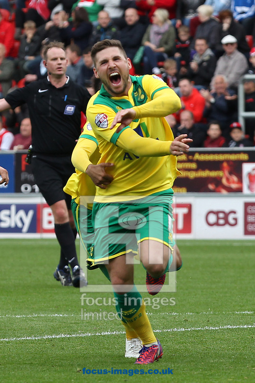 Gary Hooper of Norwich celebrates scoring his sides 1st goal during the Sky Bet Championship match at the New York Stadium, Rotherham<br /> Picture by Paul Chesterton/Focus Images Ltd +44 7904 640267<br /> 25/04/2015