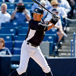 Feb 28, 2013; Tampa, FL, USA; New York Yankees right fielder Ichiro Suzuki (31) at bat against the Toronto Blue Jays during the bottom of the sixth inning of a spring training game at George Steinbrenner Field. Mandatory Credit: Derick E. Hingle-USA TODAY Sports