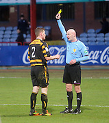 Referee Craig Charleston yellow cards Alloa Athletic's Michael Doyle after the penalty incident - Dundee v Alloa Athletic, SPFL Championship at Dens Park<br /> <br />  - &copy; David Young - www.davidyoungphoto.co.uk - email: davidyoungphoto@gmail.com