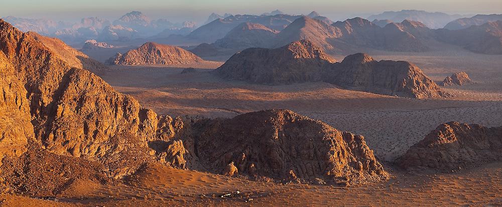 A Bedouin encampment tucked away in a remote desert valley of Wadi Rum, Jordan.