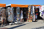 Eastern Europe, Hungary, Budapest, outdoor street market tourist souvenir shop