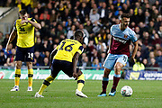 Jack Wilshire (19) of West Ham United takes on Shandon Baptiste (16) of Oxford United during the EFL Cup match between Oxford United and West Ham United at the Kassam Stadium, Oxford, England on 25 September 2019.