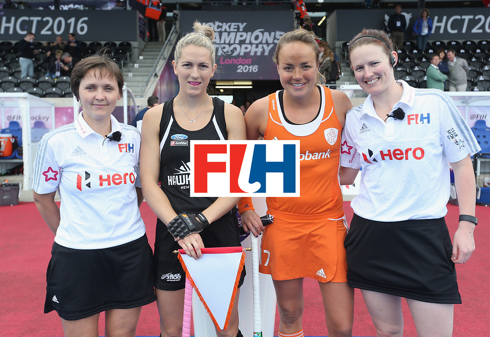 LONDON, ENGLAND - JUNE 18:  Maartje Paumen of Netherlands and Stacey Michelsen of New Zealand with match umpires prior to the FIH Women's Hockey Champions Trophy match between Netherlands and New Zealand at Queen Elizabeth Olympic Park on June 18, 2016 in London, England.  (Photo by Alex Morton/Getty Images)