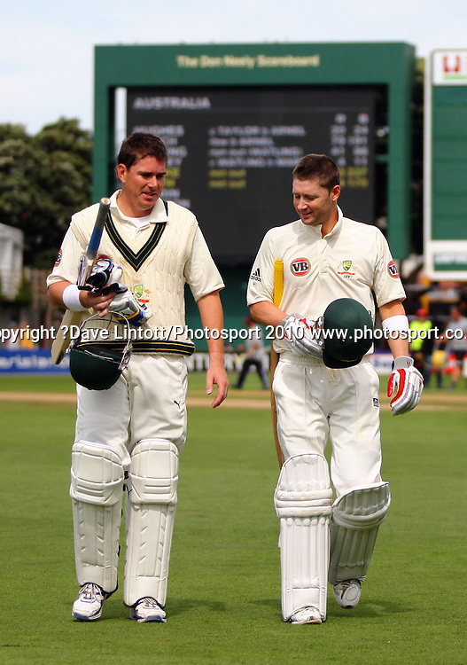 Australia's Marcus North and Michael Clarke walk off after lunch.<br /> 1st cricket test match - New Zealand Black Caps v Australia, day two at the Basin Reserve, Wellington.Saturday, 20 March 2010. Photo: Dave Lintott/PHOTOSPORT