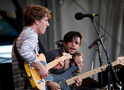 27 April 2012. New Orleans, Louisiana,  USA. .New Orleans Jazz and Heritage Festival. .Taylor Guarisco (l) and Josh Leblanc of the band 'Givers' from Lafayette..Photo; Charlie Varley.