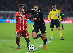 MUNICH, Dec. 6, 2017  Kingsley Coman (L) of Bayern Munich competes with Kylian Mbappe of Paris Saint-Germain during a UEFA Champions League group B match between Bayern Munich and Paris Saint-Germain in Munich, Germany, Dec. 5, 2017. Bayern won 3-1. (Credit Image: © Philippe Ruiz/Xinhua via ZUMA Wire)