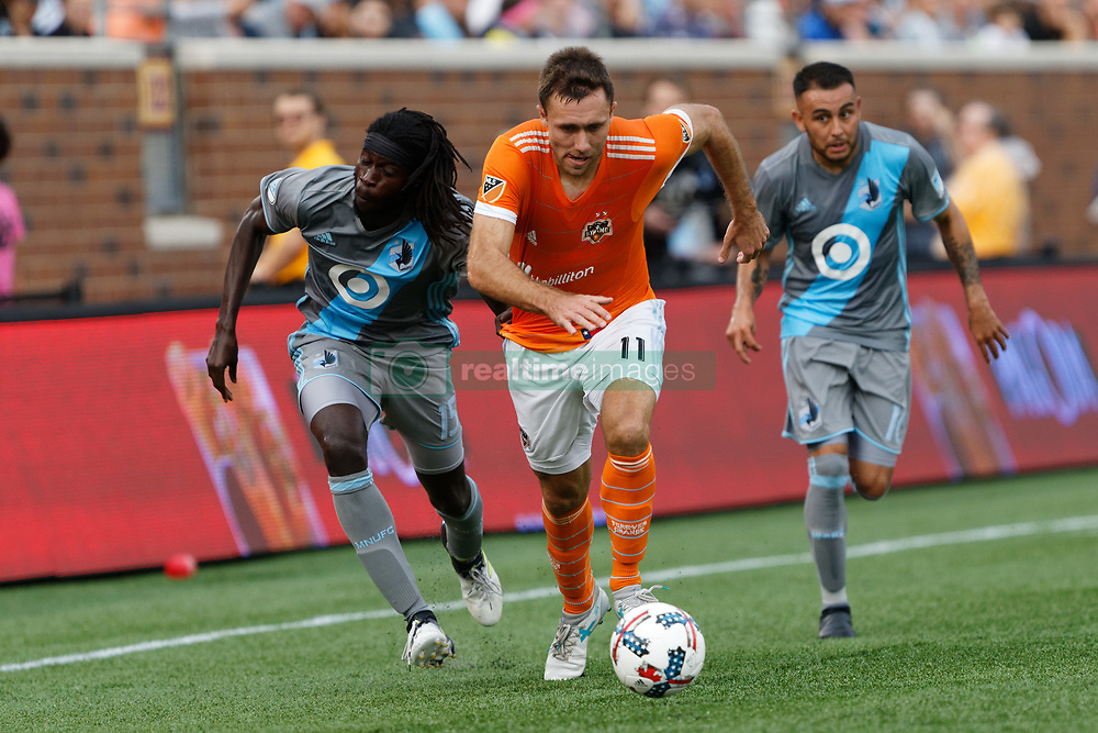 July 19, 2017 - Minneapolis, MN, USA - Minneapolis, MN - Wednesday July 19, 2017: Minnesota United FC played the Houston Dynamo in a Major League Soccer (MLS) game at TCF Bank stadium. Final score Minnesota United 0, Houston Dynamo 0 (Credit Image: © Jeremy Olson/ISIPhotos via ZUMA Wire)