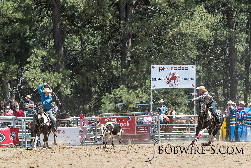 Header Denton Taylor and heeler Dusty Taylor make their team roping run in the first performance of the Elizabeth Stampede on Saturday, June 2, 2018.