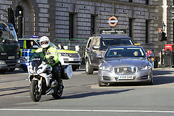 "© Licensed to London News Pictures. 08/01/2019. London, UK. Theresa May's convoy arrives at Houses of Parliament. Security has been intensified outside Parliament after the Conservative MP Anna Soubry was chants by the protesters on Monday calling her a ""Nazi"". Photo credit: Dinendra Haria/LNP"