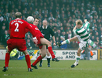 Photo. Andrew Unwin<br /> Yeovil v Liverpool, FA Cup Third Round, Huish Park, Yeovil 04/01/2004.<br /> Yeovil's Darren Way puts an early chance over the bar.