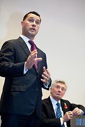 © Licensed to London News Pictures . 06/11/2012 . Manchester , UK . UK Independence Party candidate Steven Woolfe speaks as Labour's Tony Lloyd listens .  Manchester Police and Crime Commissioner debate this evening (6th November 2012) , at the Roscoe Building , the University of Manchester . Elections for 41 local Police and Crime Commissioners take place across the UK on 15th November 2012 . Photo credit : Joel Goodman/LNP