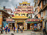 30 JULY 2015 - KATHMANDU, NEPAL:   The entrance to Drubgon Jangchup Choeling monastery near Shree Gha stupa in Kathmandu, Nepal.     PHOTO BY JACK KURTZ