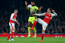 25 October 2016 - EFL Cup - 4th Round - Arsenal v Reading - Carl Jenkinson of Arsenal in action with Dominic Samuel of Reading - Photo: Marc Atkins / Offside.