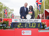 Rob Diver and Mary Keitany KEN during the presentation for the Elite Women's Race. The Virgin Money London Marathon, 23rd April 2017.<br /> <br /> Photo: Ben Queenborough for Virgin Money London Marathon<br /> <br /> For further information: media@londonmarathonevents.co.uk
