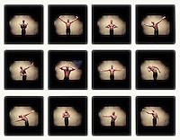 Young man dancing (digital composite)