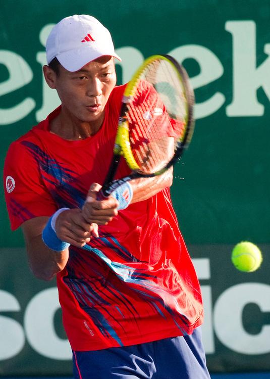 Chinese Taipei's Yen-Hsun Lu in his second round singles match against Spain's David Ferrer at the Heineken Open Men's Tennis Tournament, Auckland, New Zealand, Wednesday, January 09, 2013.  Credit:SNPA / David Rowland