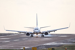 © Licensed to London News Pictures. 04/03/2019. Leeds UK. A Ryanair aircraft struggles to land this morning at England's highest airport, Leeds Bradford International as storm Freya continues to batter the UK. Photo credit: Andrew McCaren/LNP