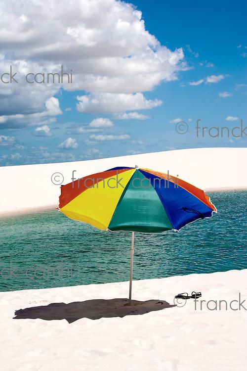 umbrella beach at lagoa azul in the Lencois Maranheses National Park brazil