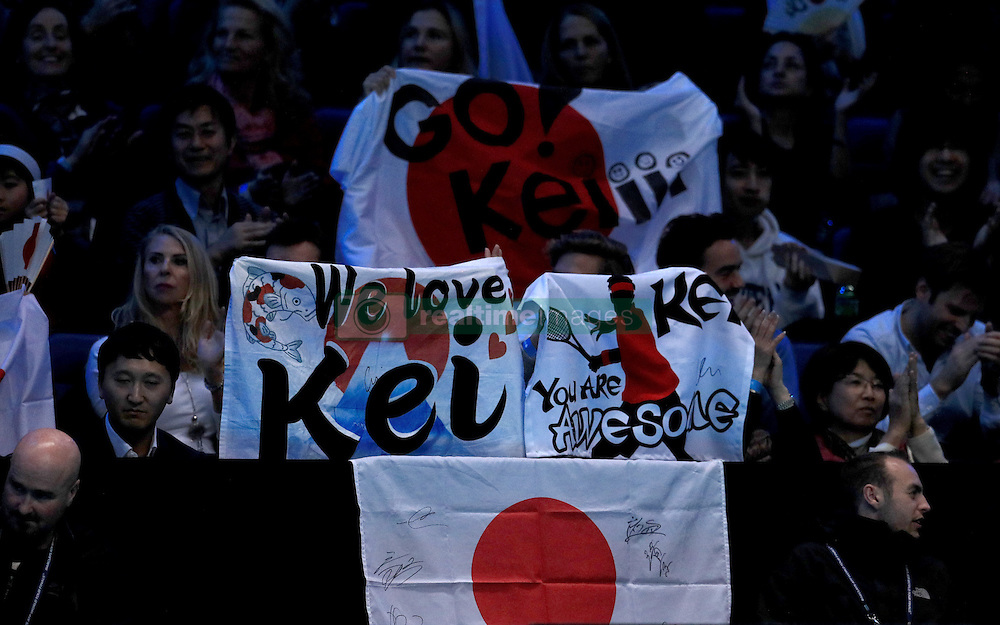 Fans of Kei Nishikori during day six of the Barclays ATP World Tour Finals at The O2, London. PRESS ASSOCIATION Photo. Picture date: Friday November 18, 2016. See PA story TENNIS London. Photo credit should read: Adam Davy/PA Wire. RESTRICTIONS: Editorial use only, No commercial use without prior permission