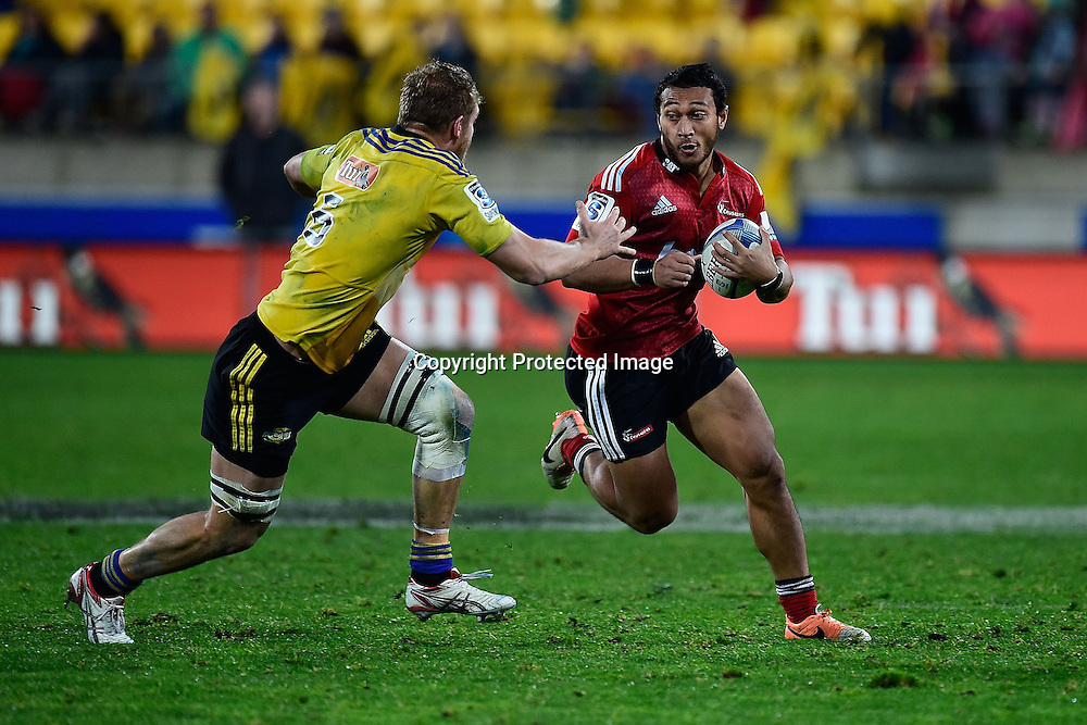 Play in front of signage during the Hurricanes vs Crusaders match at the Westpac Stadium in Wellington on the 28th oJune 2014. Photo by www.photosport.co.nz/Marty Melville