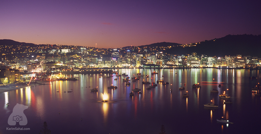 Oriental Bay and the Central Business district at dusk, Wellington, New Zealand