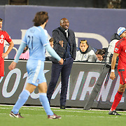 NEW YORK, NEW YORK - November 06:  Head coach Patrick Vieira of New York City FC on the sideline during his sides 5-0 home loss in the NYCFC Vs Toronto FC MLS playoff game at Yankee Stadium on November 06, 2016 in New York City. (Photo by Tim Clayton/Corbis via Getty Images)