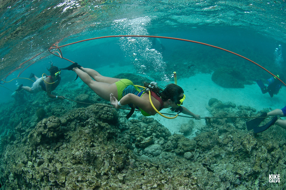 Tourist practicing Snuba, half snorkel and half diving