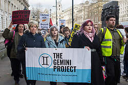 London, UK. 6 January, 2020. Verity Nevitt (c), co-founder of the Gemini Project, a non-profit organisation aiming to end sexual violence through advocacy and campaigns, leads supporters of the British teenager allegedly gang-raped by a group of male Israeli tourists in Cyprus on the March for Justice from the High Commission of Cyprus to Parliament Square. Campaigners have been calling on the Foreign Office to seek the expedition by Cyprus of the appeal process following her conviction for lying. The teenager's treatment by the authorities in Cyprus following her traumatic experience has been widely criticised.