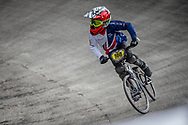 #100 during practice at the 2018 UCI BMX World Championships in Baku, Azerbaijan.
