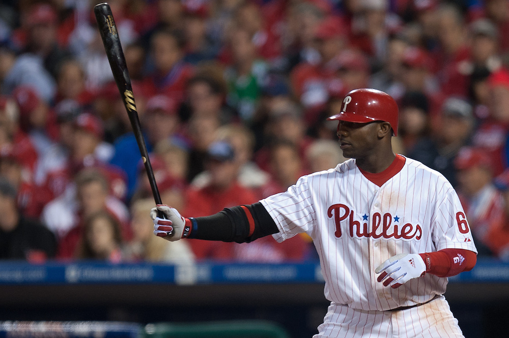 PHILADELPHIA - OCTOBER 16: Ryan Howard #6 of the Philadelphia Phillies bats against the San Francisco Giants in Game One of the NLCS during the 2010 MLB Playoffs at Citizens Bank Park on October 16, 2010 in Philadelphia, Pennsylvania. (Photo by: Rob Tringali) *** Local Caption *** Ryan Howard