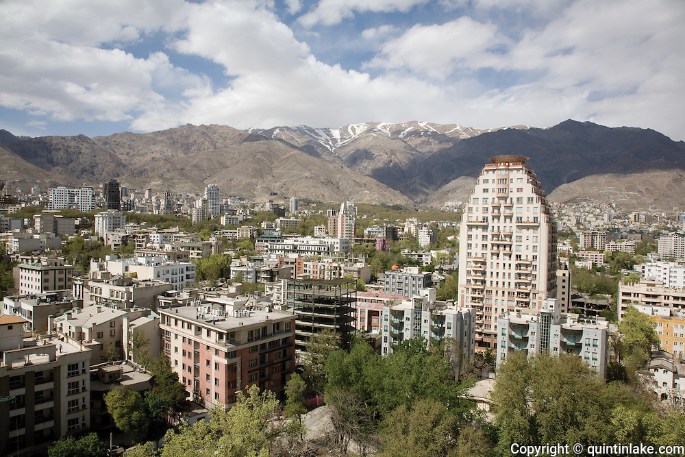 The upmarket Elahieh district of Tehran next to the Alborz mountains. Tehran, Iran, 2008